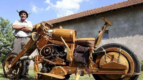 纯手工木制摩托车!